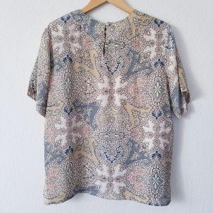 Vintage | 100% Silk Handkerchief Print Blouse Smal